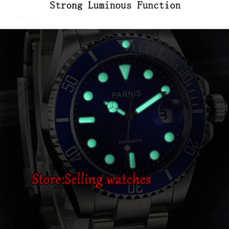 Parnis 40mm Luxury Brand Mechanical Watches Luminous Automatic Watch Rotating Ceramic Bezel mens watch in Mechanical Watches from Watches on