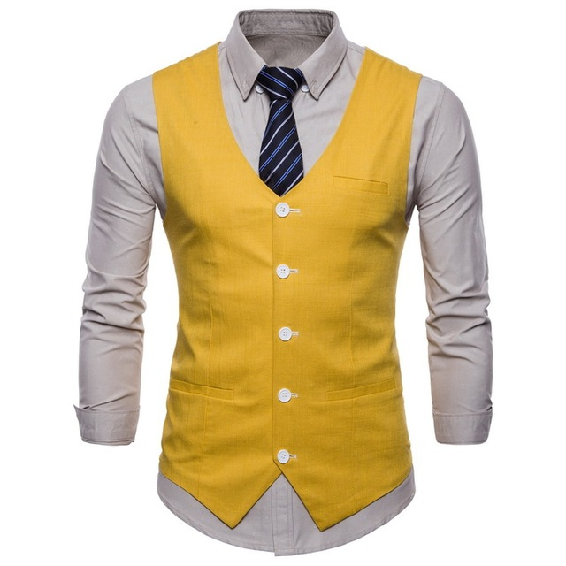 2018 Mens Slim Fit Single Breasted Suit Vest 2018 Brand New Formal Dress Business Wedding Vest Waistcoat Men Solid Color Gilet