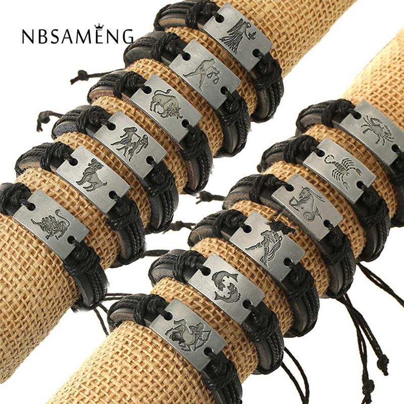 Zodiac Men Jewelry Bracelet Leather Bracelets For Women Charm Bracelet Aries Virgo Taurus Cancer Capricom Leo Gemini Libra