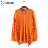Hirsionsan 2017 Knitted Sweaters Women Lace Up V Neck Loose Sweater Pullovers Female Oversized Streetwear Autumn
