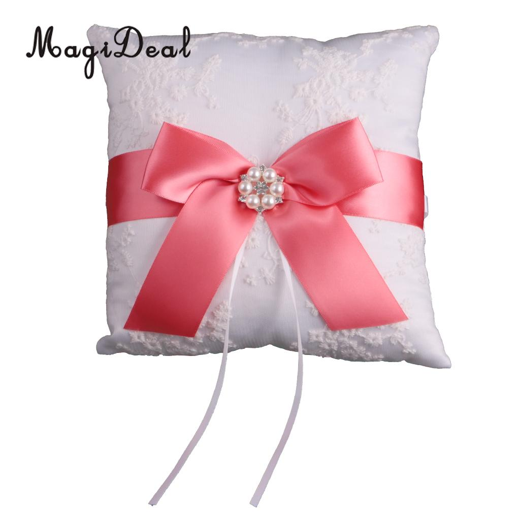 MagiDeal Luxury 1Pc Wedding Bridal Ribbon Flower Ring Bearer Pillow ...