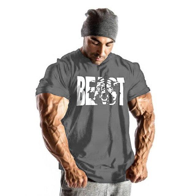 dcfc3bc03b8c13 Siłownie męskie bestia koszulki bawełniane z krótkim rękawem kulturystyka  topy treningu odzież fitness siłownie odzież mięśni