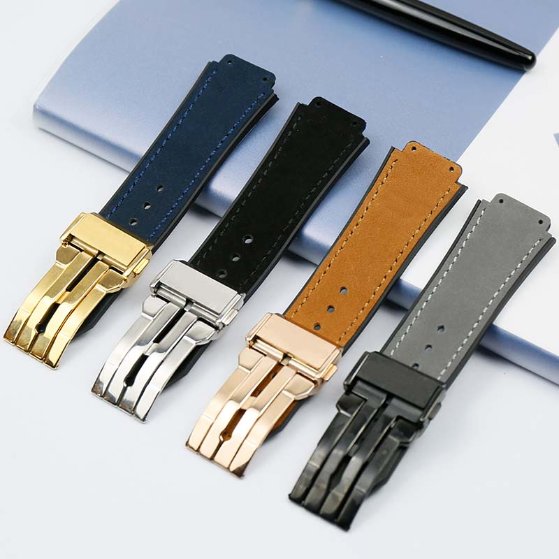 Men's Leather Strap 25mmx 19mm Rubber Strap Folding Clasp For Hublot Large Explosive Strap Watch Accessories