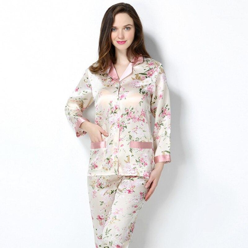 Женский пижамный комплект из 100% натурального шелка, пижамный комплект с принтом, пижамный комплект для сна, пижамный комплект из чистого ше