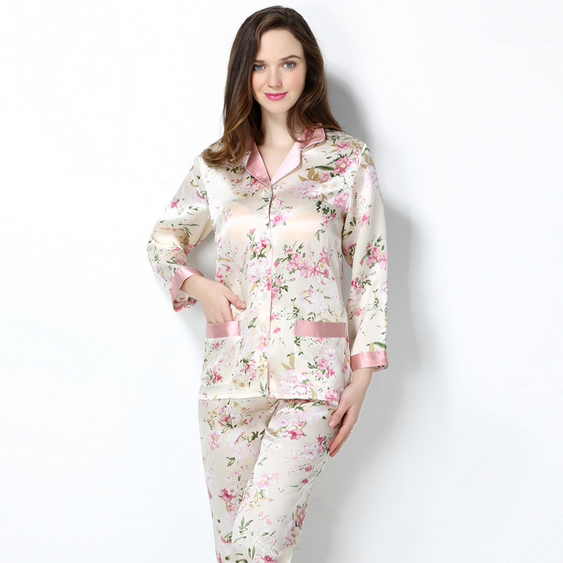 Pure Natural Silk Pajamas Sets Nightwear 2017 New Summer Women's Sleepwear Floral Geometric Print Pyjamas Set Free Shipping