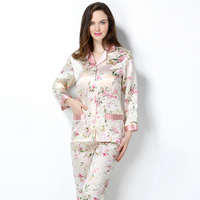 2019 New Spring Women 100% Real Silk Pajamas Set printing Sexy Pyjama Femme Sleep Lounge Bedgown Girls Pure Silk Sleepwear Suits