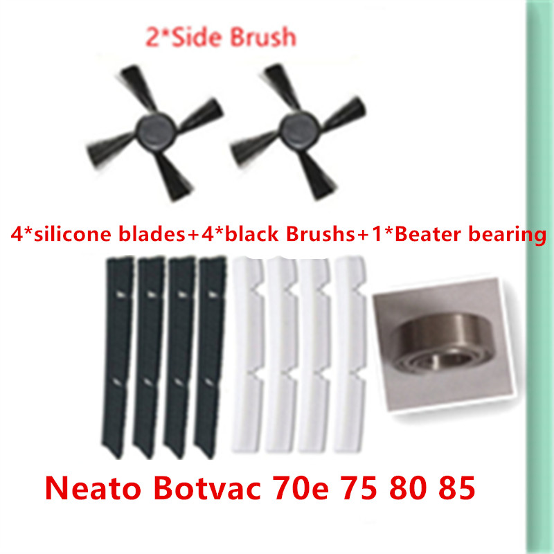 2*side brush+ 4*silicone blades+4*black Brushs+1*Beater bearing Replacement for Neato Botvac 70e 75 80 85 Vacuum Cleaner Parts replacement spare parts beater blades