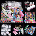 42 Acrylic Nail Art Tips Powder Liquid Brush Glitter Clipper Primer File Set Kit G6706