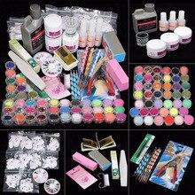 42 Acrylic Nail Art Tips Powder Liquid Brush Glitter Clipper Primer File Set Kit G6706