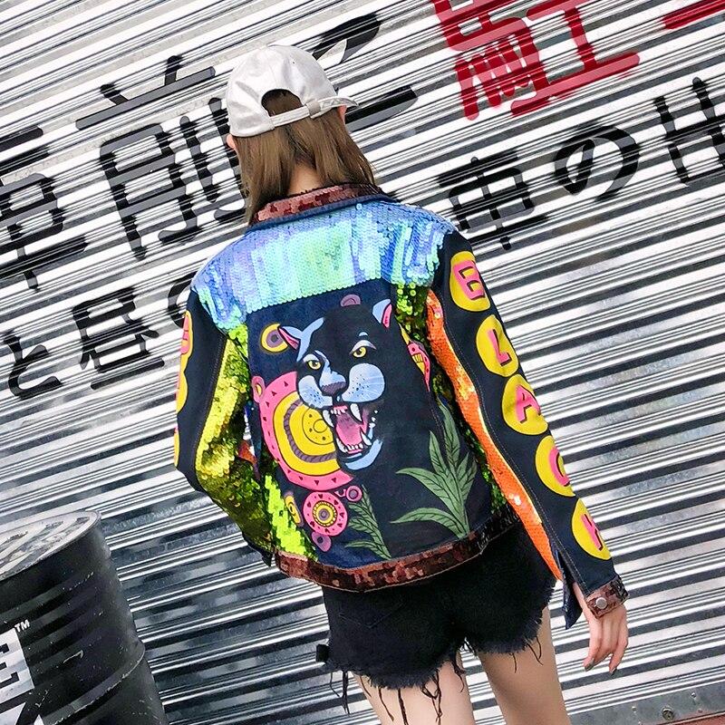 Paillettes Manches Coloré Patchwork Denim Punk Vestes À Rue Revers Longues Impression Jeans Parti Lion Femmes Nouveau 2018 Manteau Mince tqw4AztI
