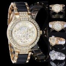 Женева женщины моды роскошные часы Reloj Mujer Нержавеющей Стали Качество Алмазный Женские Кварцевые Часы Женщины Горный Хрусталь Часы