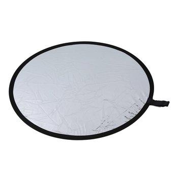 Круглый отражатель для фотографии Диаметр 80 см складной серебряный и белый