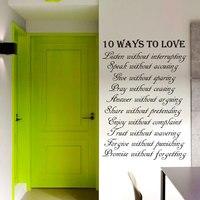DCTOP 10วิธีที่จะข้อความรักสติกเกอร์ติดผนังสำหรับห้องนั่งเล่นศิลปะไวนิลคำที่ถอดออกได้กาวตน