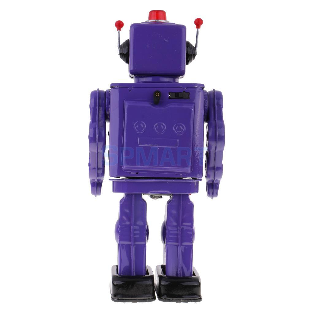 Retro Vintage Baterías Operado Caminar Mecánica Electrónica Robot Tin Toy Coleccionables Niños Niños Adultos Juguetes Regalos - 4