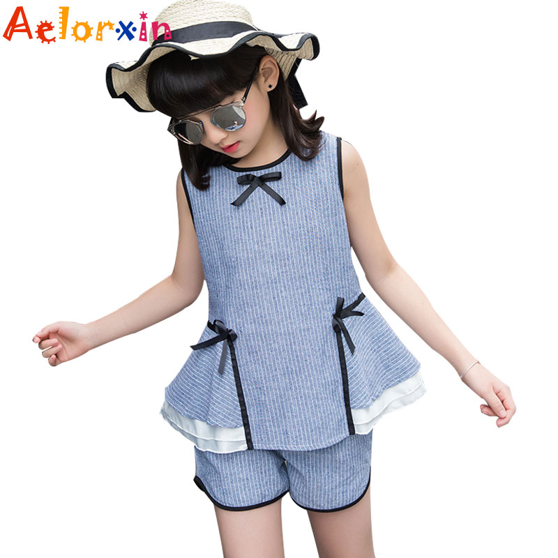 Girls Clothing Sets for Girls Summer Sleeveless Striped Tops & Shorts Suits Kids Outfits Children Clothes Sets 2 8 9 10 12 Years