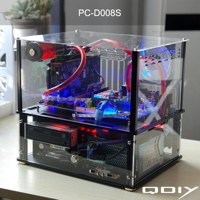 PC-D008S Colorido Horizontal QDIY ATX PC Transparente Água de Refrigeração Gabinete Do Computador Acrílico