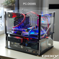 QDIY PC D008S Colorful Horizontal ATX Transparent PC Water Cooled Acrylic Computer Case