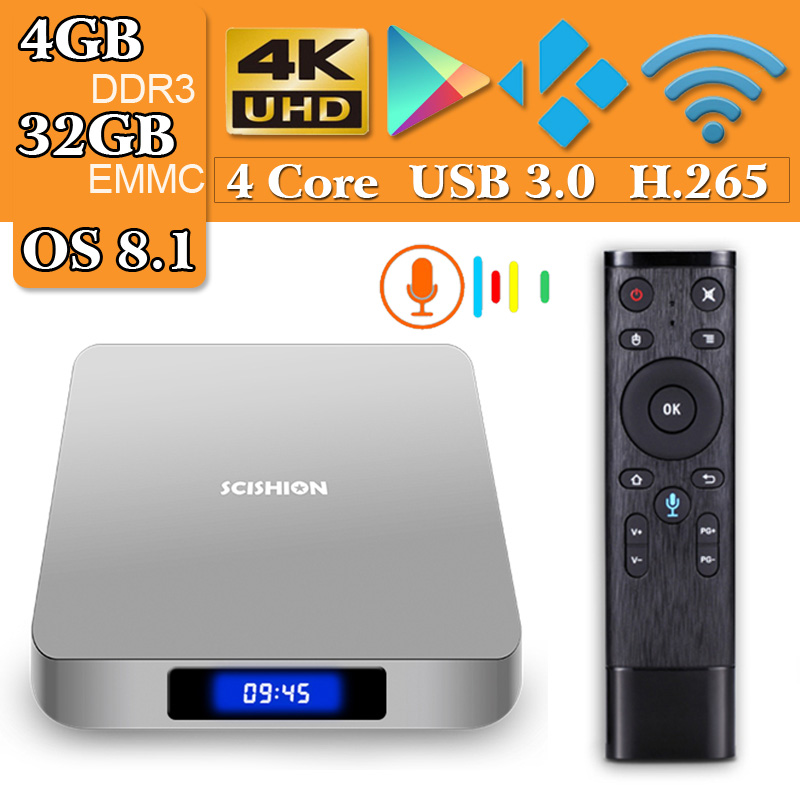 SCISHION AI ONE Smart TV Android TV Box 8.1 RK3328 Quad Core 4GB/32GB 2.4G WiFi BT4.0 With 2.4G Voice Remote Control цена 2017