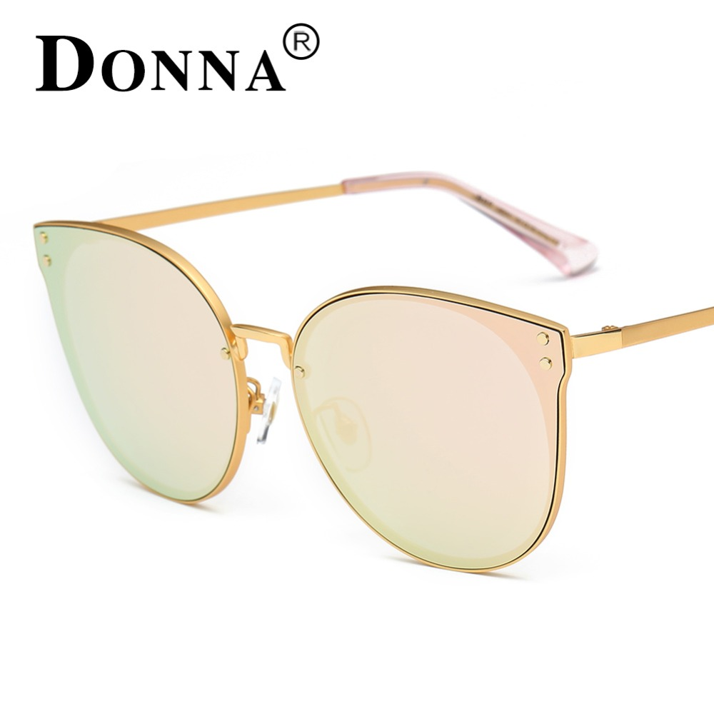 2bc1dfd9954 Donna Oversized Cat Eye Retro Sunglasses Women Round Mirror Gold Rose Frame  Flat Mirror Sun Woman Fashion HD Lens Glasses D09-in Sunglasses from  Apparel ...