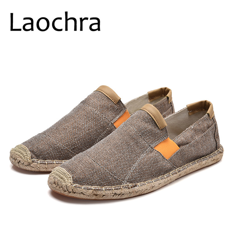 LAOCHRA New Arrival Men Canvas Fisherman Shoes Breathable Spring/Autumn Slip On Loafers Hemp Espadrilles Flats Shoes For Males e lov new arrival luminous canvas shoes graffiti pisces horoscope couples casual shoes espadrilles women
