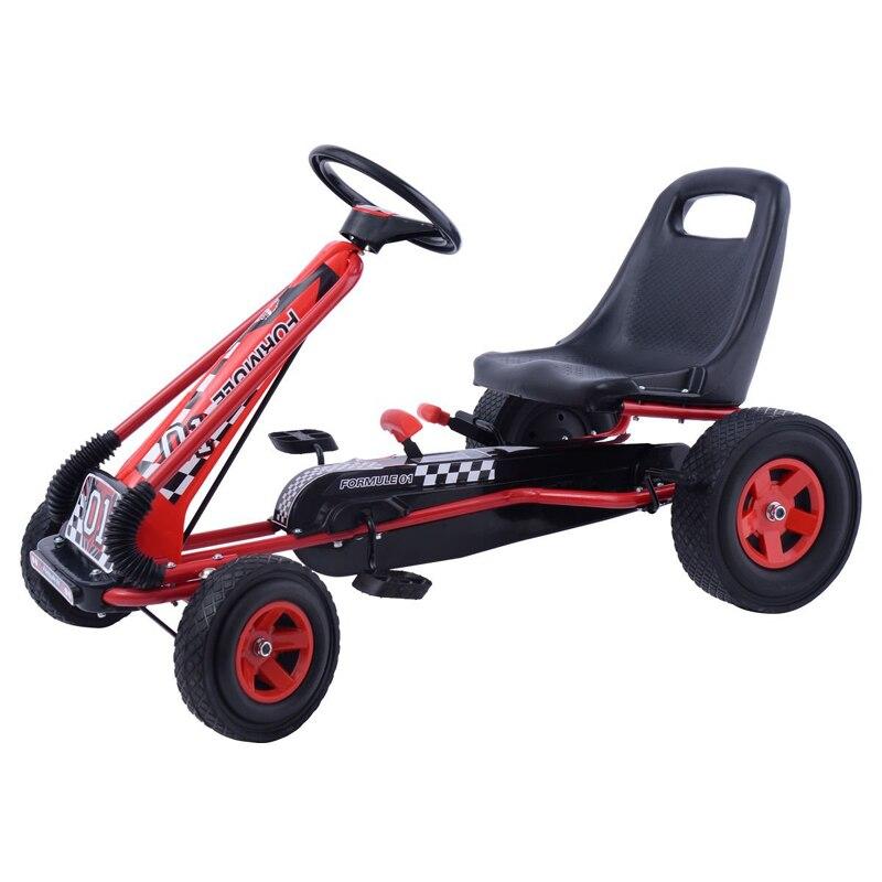 Enfants gonflable roue pédale aller kart avec frein à main Costzon Kart Enfants Monter Sur une Voiture à Pédales 4 Roues alimenté Racer Jouet En Plein Air