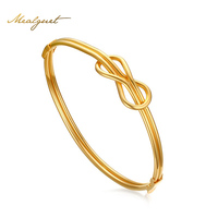 Meaeguet Gold Color Infinity Bangle Cuff Knot Bracelets For Women Stainless Steel Jewelry Noeud Armband Pulseiras