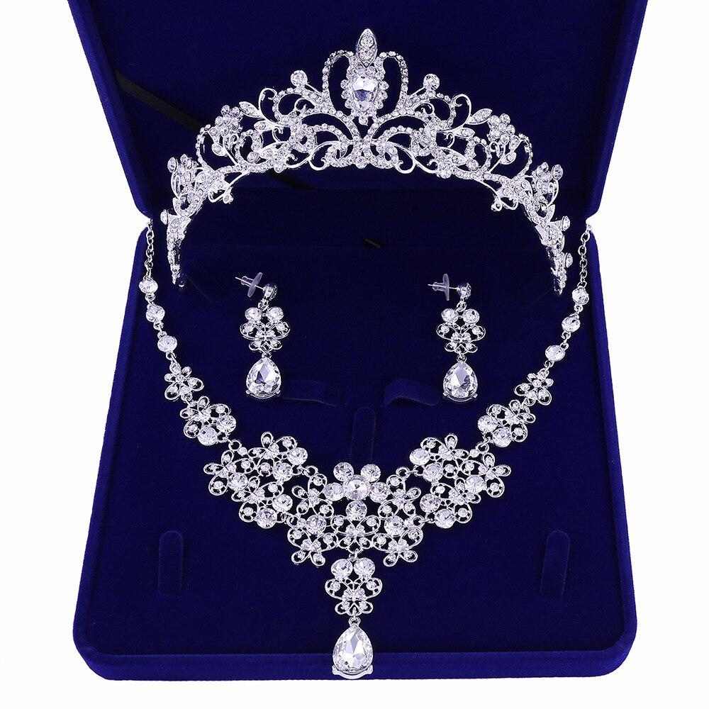 Qualidade de peça de casamento conjunto de joias novas coroas tiara colar joia do casamento
