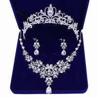 Calidad de Cristal Nupcial ¿Casamento Conjuntos de Joias mujeres novia Coroas Tiara Colar Brinco Joia ¿Casamento