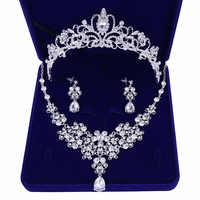 Qualidade de Cristal Nupcial Do Casamento Conjuntos de Joias Mulheres Noiva Coroas Tiara Colar Brinco Joia Do Casamento