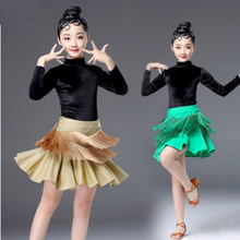New Girls Latin Dance Skirt Ballroom Salsa Tango Skirts Kid Child Velvet tassel Latin Dance Split Dress With Leotard And Skirt все цены