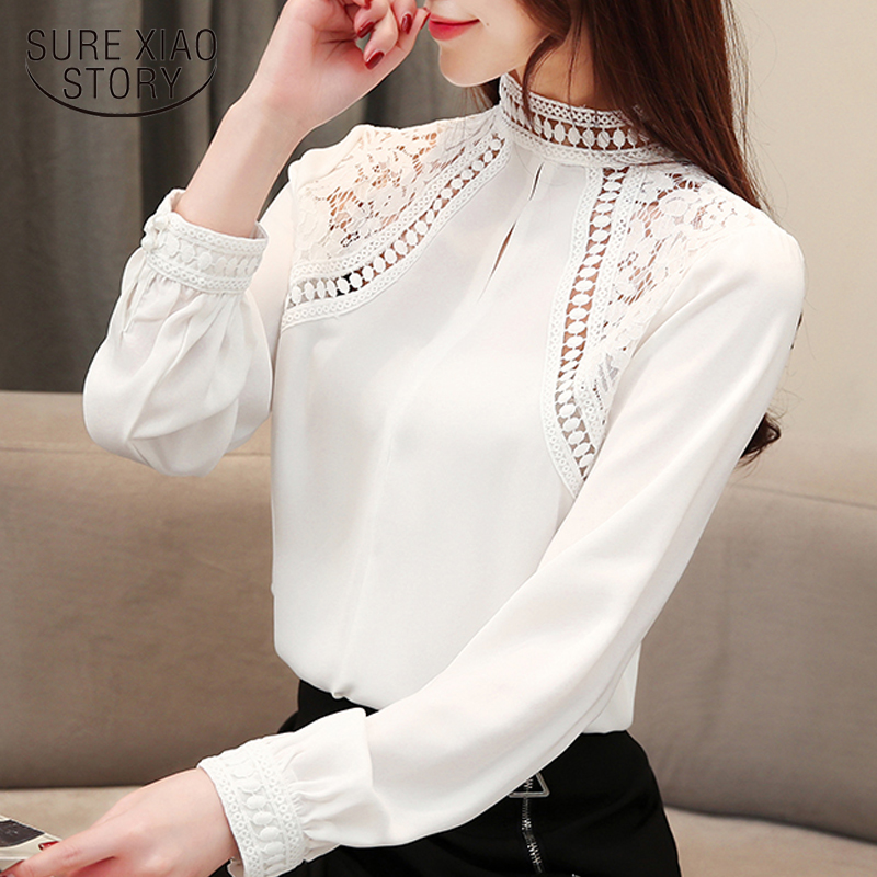 fashion women   blouses   2019 sexy hollow lace chiffon   blouse     shirt   white office   blouse   women tops long sleeve women   shirts   2680 50