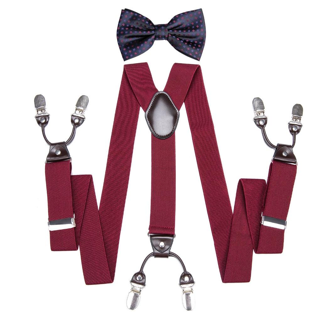DiBanGu Men's Suspenders 6 Clips Braces Leather Suspensor Adjustable Belt Strap Vintage Mens Suspender Bowtie Set BH001-LH020