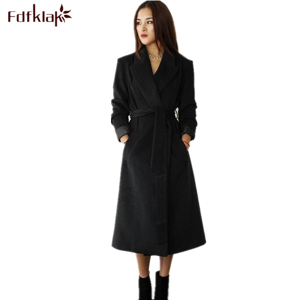 S-XXXL Plus Size Women Wool Coat Autumn Winter New Fashion Ladies Slim Turn-down Collar Single Button Long Coats Black/Red Q188 alfani new black women s size small s mesh back high low ribbed blouse $59 259
