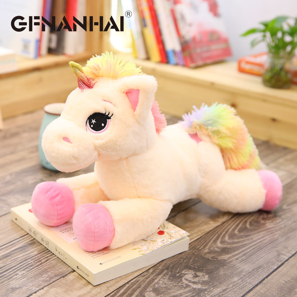 1pc 40cm cartoon lying unicorn plush pillow with colorful tail toys stuffed kawaii animal horse plush toy for kids birthday gift fashion colorful cartoon animal printed square new composite linen blend pillow case