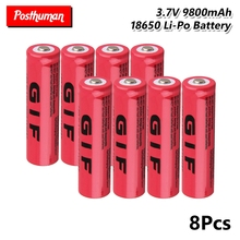 18650 battery 8X 3.7V GIF 18650 High Capacity 9800mAh Battery power high discharge Lithium Li-ion battery capacity tester battery capacity detector electronic load cell discharge test