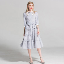 9a063462cb5 Floral Embroidery Striped Belt Single Breasted Casual Dresses for Women 3 4  Sleeve Ruched Ruffles Elegant Midi Dress C057
