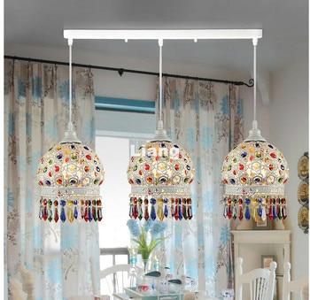 Free Shipping White Colorful Bohemia Pendant lamp D15cm Countryside Pendant Light E27 110V~220V Baroque Decoration Pendant Lamp