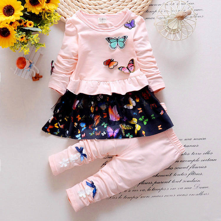 2016 New arrival hot sale kids clothing baby suits 2pcs jacket pants casual girls suits butterfly