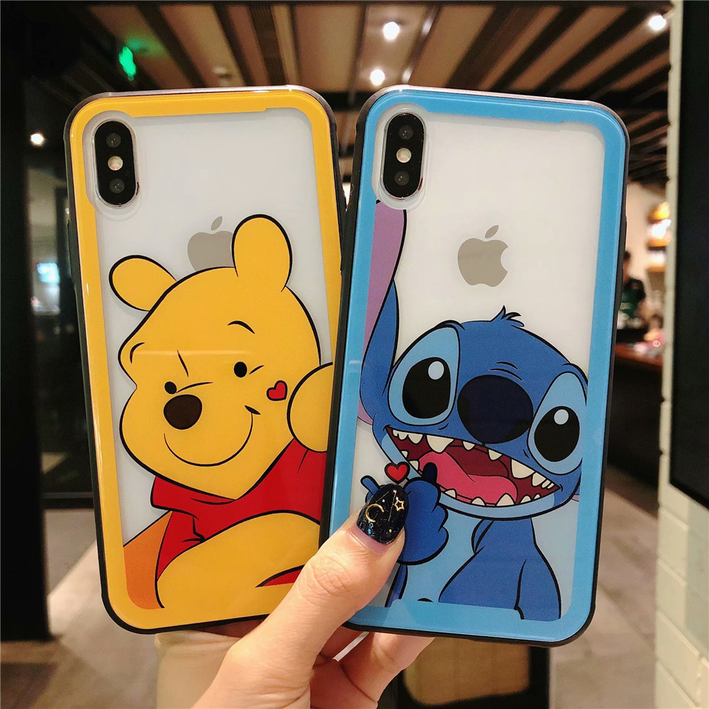 ba18577169e De dibujos animados de vidrio templado funda para teléfono para iPhone X XR  XS MAX 8 7 6 6 s plus Linda puntada Winnie Pooh funda protectora de cristal  de ...