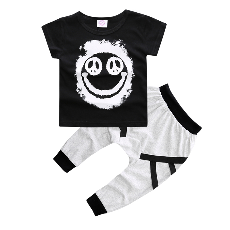 SY123 new summer 2018 boy's short-sleeved cotton baby clothes set fashion t-shirt + pants baby boys clothing set kids clothes 1