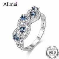 Almei Wedding Brand 5pcs Sapphire Ring 925 Sterling Silver Fine Jewelry New 2017 Unique Design for Women with Box 40% FJ092