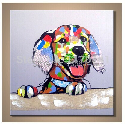 Handpainted Oil Painting Cool Lovely Dog Painting Abstract Oil Painting on Canvas ...