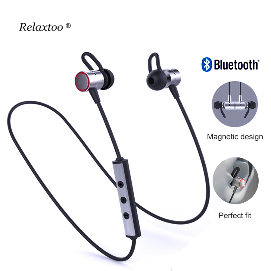 Sport Earphone Metal Magnetic Wireless Bluetooth Earphones In-Ear HiFi Bass Headset With ...