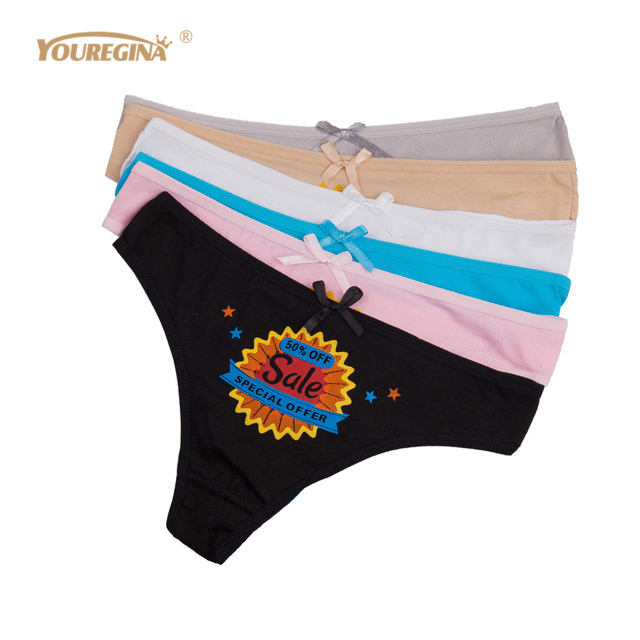 86ffd8ac9 YOUREGINA Tangas Mujer Women Thongs and G Strings Sexy Cotton Woman Panties  Underwear Lingerie Intimates Knickers 6pcs lot