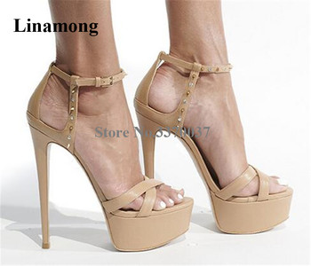 Women Elegant Fashion Open Toe Strap Cross High Platform Stiletto Heel Rivet Sandals Ankle Strap Buckles High Heel Sandals Heels фото