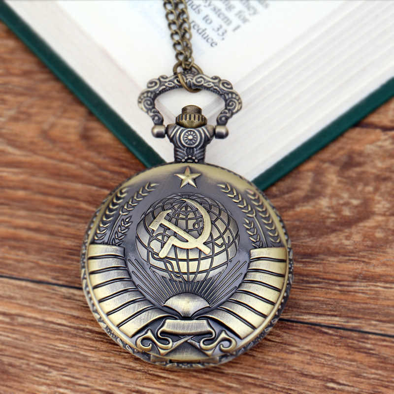 Vintage USSR Soviet Badges Sickle Hammer Pocket Watch Necklace Bronze Pendant Chain Clock Fashion Women Men For Christmas Gift