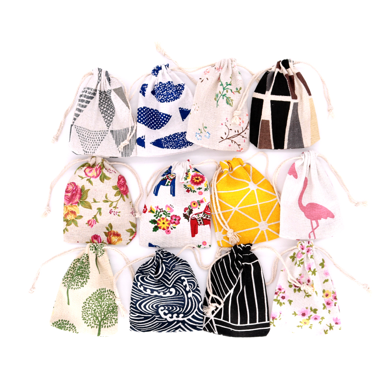 50pcs/lots Multi Colors 2 Sizes Cotton Gift Bags Charms Jewelry Packaging Bags Wedding Party Decoration Candy Gift Bag Pouches