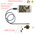 Newest 2M 2IN1 and PC Lens 5.5mm mini endoscope borescope inspection wire android camera IP67 waterproof level 2 million pixels