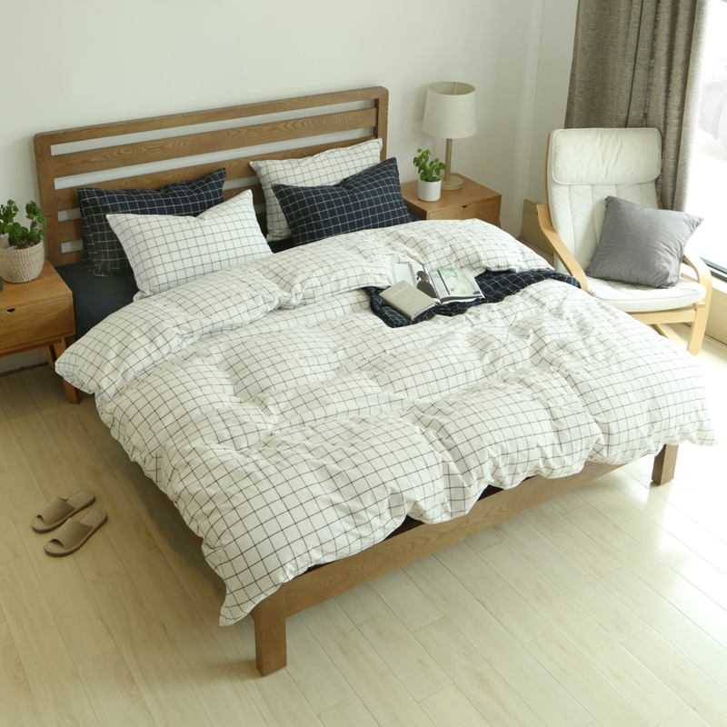 №plaid Bedspreadst 100 ⊰ Washed Washed Cottonbedding Set