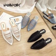 купить Wellwalk Designer Slippers Women Flats Mules Shoes Women Fashion Stripe Slides Ladies Brand Mules Female Luxury Slippers по цене 1733.06 рублей